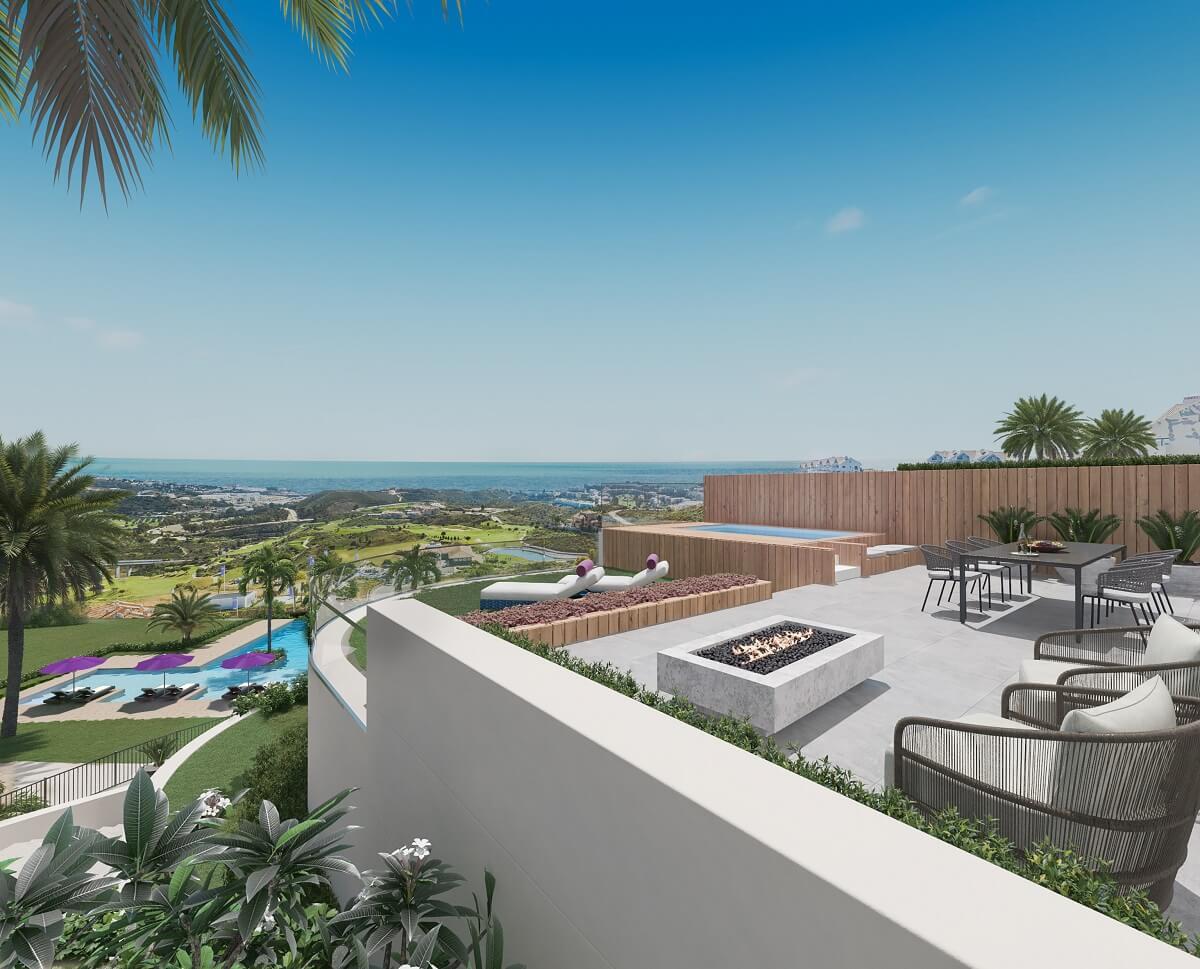 one heights cala de mijas calanova golf resort appartement kopen costa del sol spanje zeezicht terras