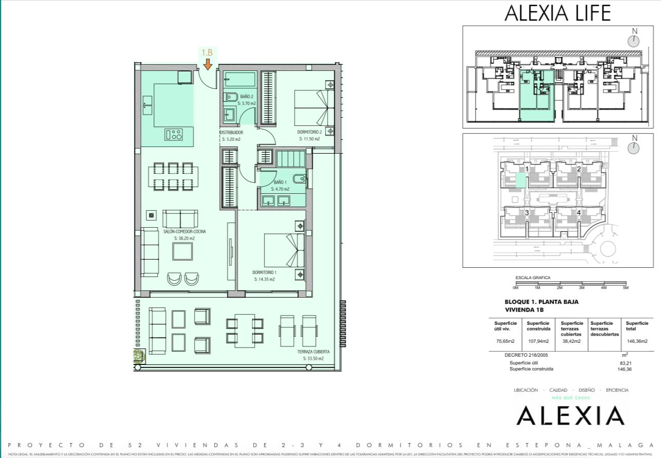 alexia life las mesas estepona costa del sol spanje appartement kopen nieuwbouw zeezicht grondplan 2 slaapkamers