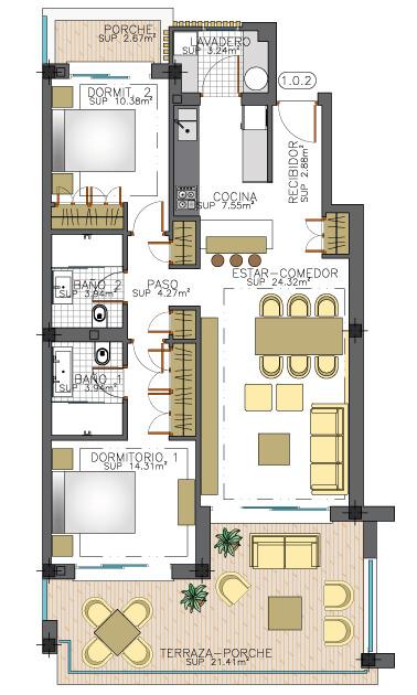 elite la cala golf appartement penthouse huis te koop costa del sol spanje zeezicht grondplan