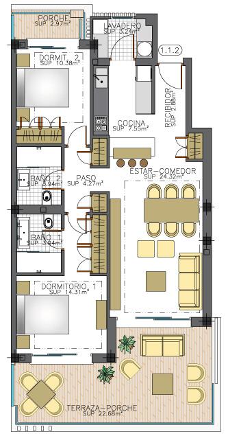 elite la cala golf appartement penthouse huis te koop costa del sol spanje zeezicht grondplan tussenverdieping