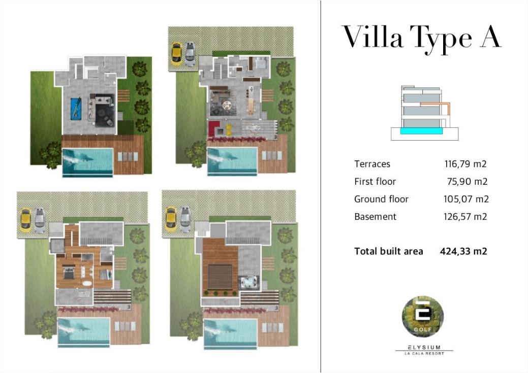elysium golf villa te koop mijas la cala golfbaan resort nieuwbouw spanje costa del sol grondplan villa