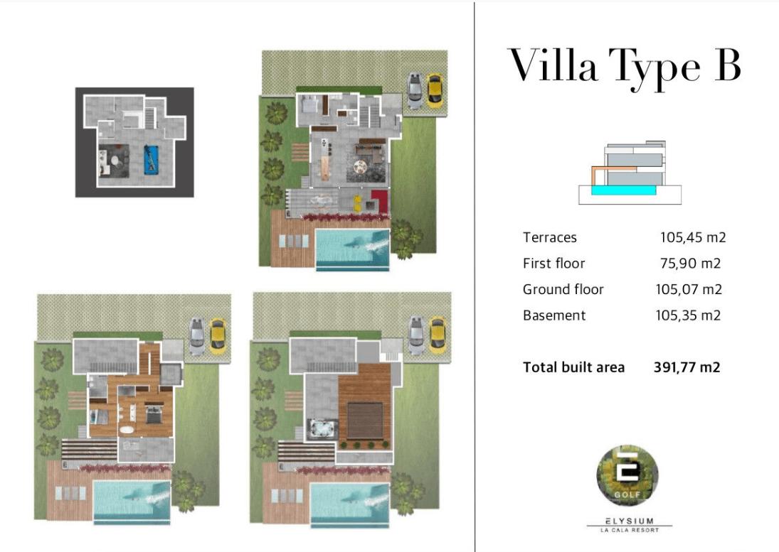 elysium golf villa te koop mijas la cala golfbaan resort nieuwbouw spanje costa del sol grondplan villas