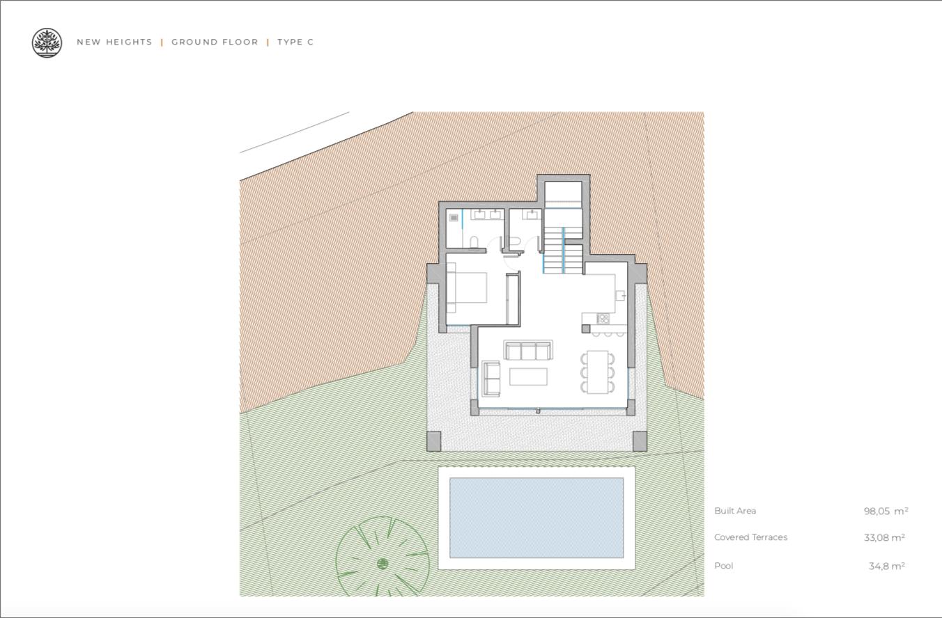new heights nieuwbouw eerstelijns golf villa kopen new golden mile selwo estepona la resina costa del sol spanje C gelijkvloers