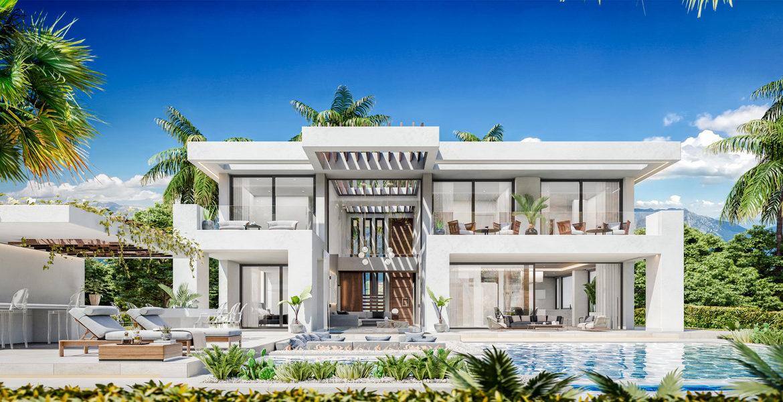 new heights nieuwbouw eerstelijns golf villa kopen new golden mile selwo estepona la resina costa del sol spanje modern