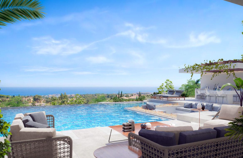 new heights nieuwbouw eerstelijns golf villa kopen new golden mile selwo estepona la resina costa del sol spanje zeezicht