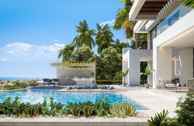 new heights nieuwbouw eerstelijns golf villa kopen new golden mile selwo estepona la resina costa del sol spanje zwembad