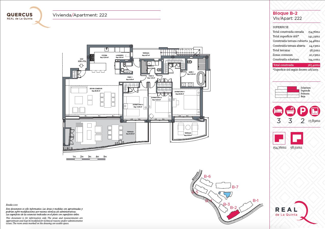 quercus real de la quinta nueva andalucia costa del sol spanje resort golf appartement penthouse te koop nieuwbouw zeezicht grondplan 222