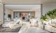 quercus real de la quinta nueva andalucia costa del sol spanje resort golf appartement penthouse te koop nieuwbouw zeezicht living