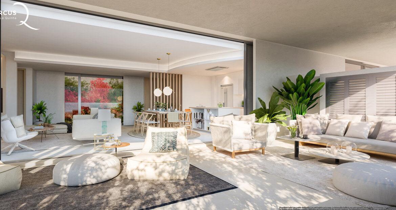 quercus real de la quinta nueva andalucia costa del sol spanje resort golf appartement penthouse te koop nieuwbouw zeezicht sofa