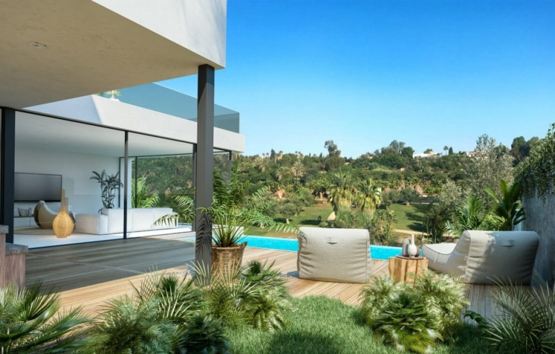 sanctuary villas el campanario golf new golden mile estepona costa del sol spanje villa kopen nieuwbouw tuin
