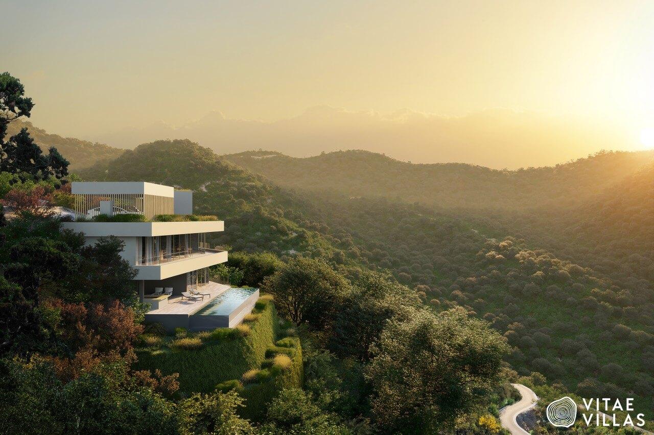vitae villas exclusieve design nieuwbouw villa te koop rustige omgeving monte mayor benahavis costa del sol zeezicht h16 zwembad