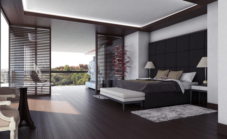 los palacetes de puerto banus marbella costa del sol spanje nieuwbouw villa kopen zeezicht slaapkamer