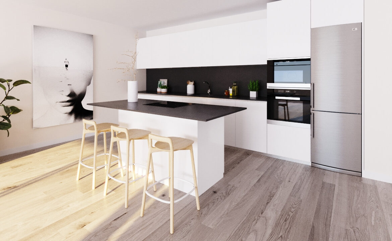 habitat golf valle romano estepona costa del sol spanje zeezicht nieuwbouw appartement penthouse kopen keuken