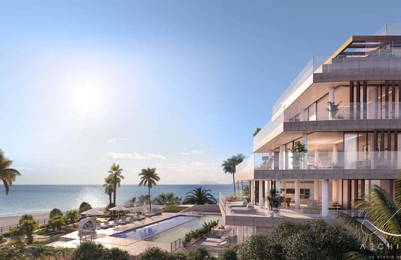 the sapphire estepona exclusief eerstelijns strand zeezicht appartement te koop costa del sol design
