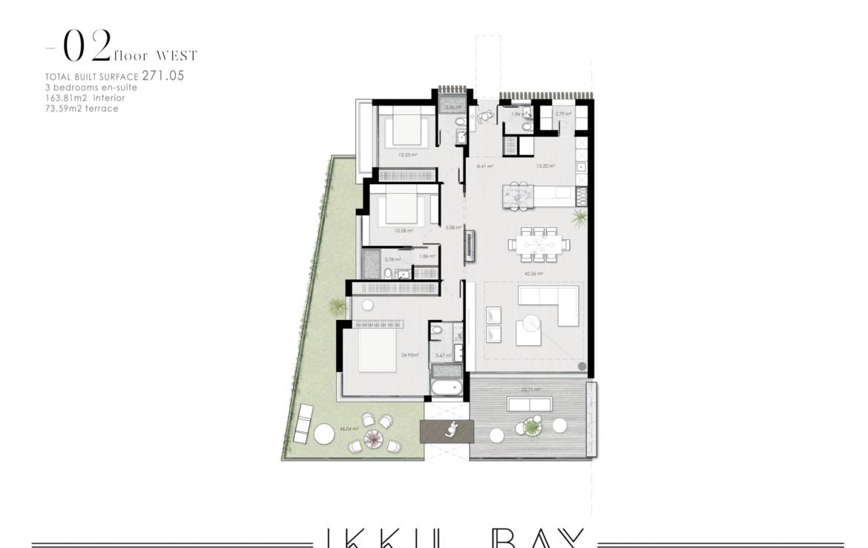 ikkil bay estepona costa del sol eerstelijns strand luxe appartement te koop zeezicht kleinschalig grondplan 2