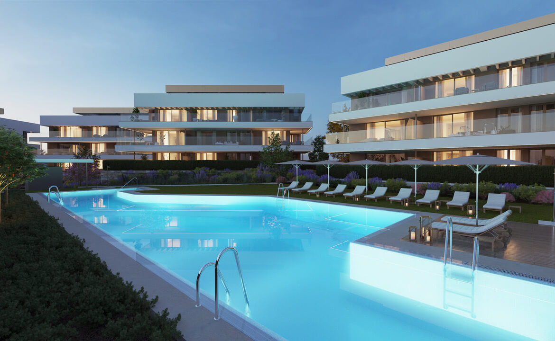 symphony suites cancelada estepona costa del sol spanje appartement nieuwbouw kopen modern zeezicht golf strand resort