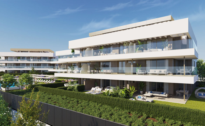 symphony suites cancelada estepona costa del sol spanje appartement nieuwbouw kopen modern zeezicht golf strand tuin