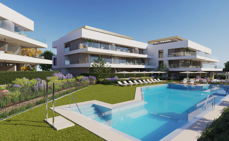 symphony suites cancelada estepona costa del sol spanje appartement nieuwbouw kopen modern zeezicht golf strand zwembad