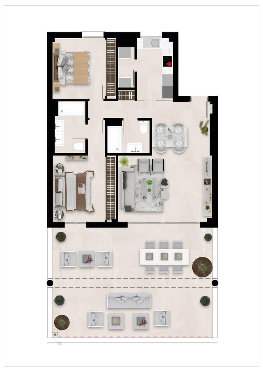 Harmony nieuwbouw appartementen la cala golf mijas costa del sol spanje zeezicht modern grondplan gelijkvloers 2slaapkamers