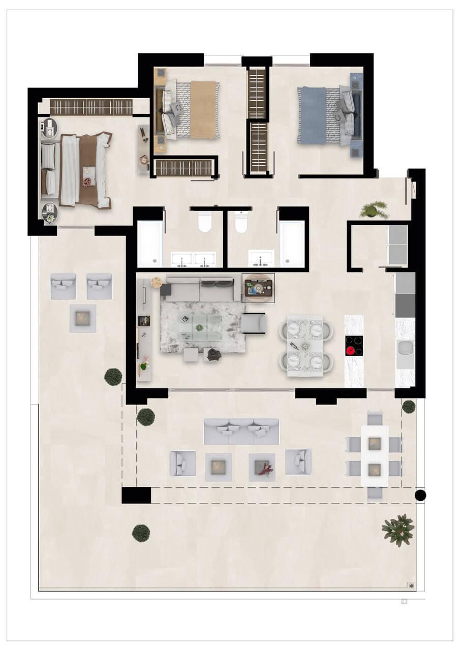Harmony nieuwbouw appartementen la cala golf mijas costa del sol spanje zeezicht modern grondplan gelijkvloers 3slaapkamers