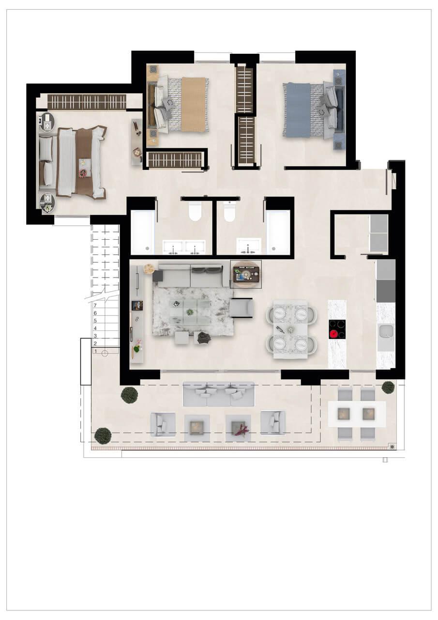 Harmony nieuwbouw appartementen la cala golf mijas costa del sol spanje zeezicht modern grondplan penthouse 3slaapkamers