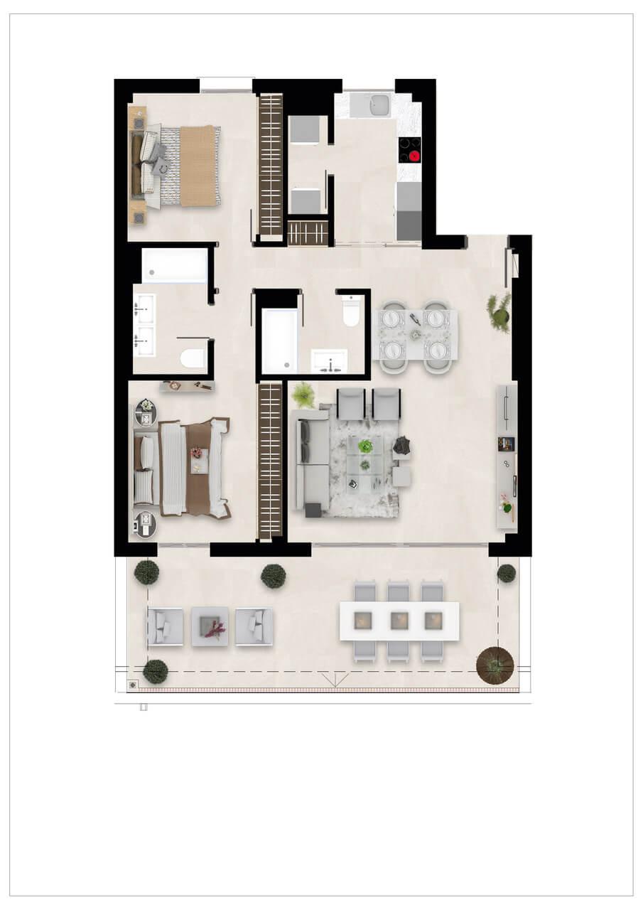 Harmony nieuwbouw appartementen la cala golf mijas costa del sol spanje zeezicht modern grondplan verdieping 2slaapkamers
