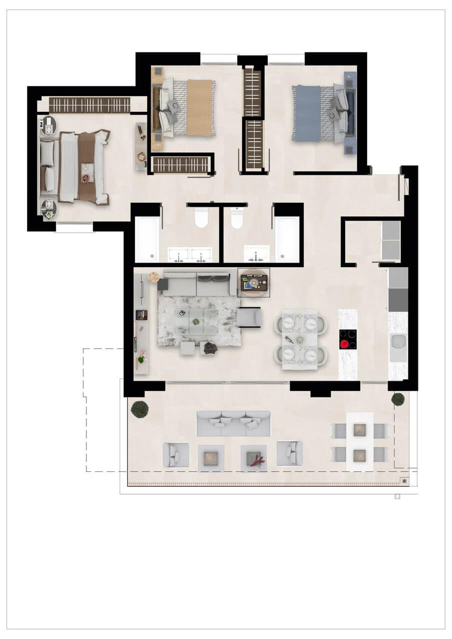 Harmony nieuwbouw appartementen la cala golf mijas costa del sol spanje zeezicht modern grondplan verdieping 3slaapkamers