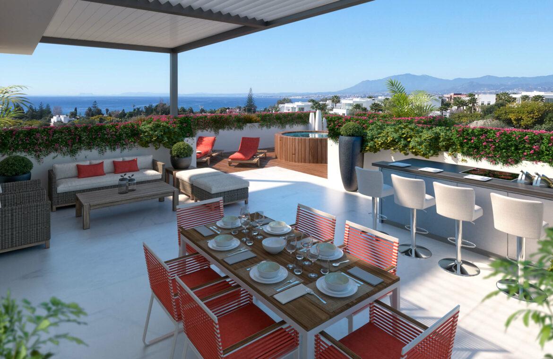 la cornisa rio real golf kleinschalig nieuwbouw appartement te koop costa del sol marbella vamoz terras