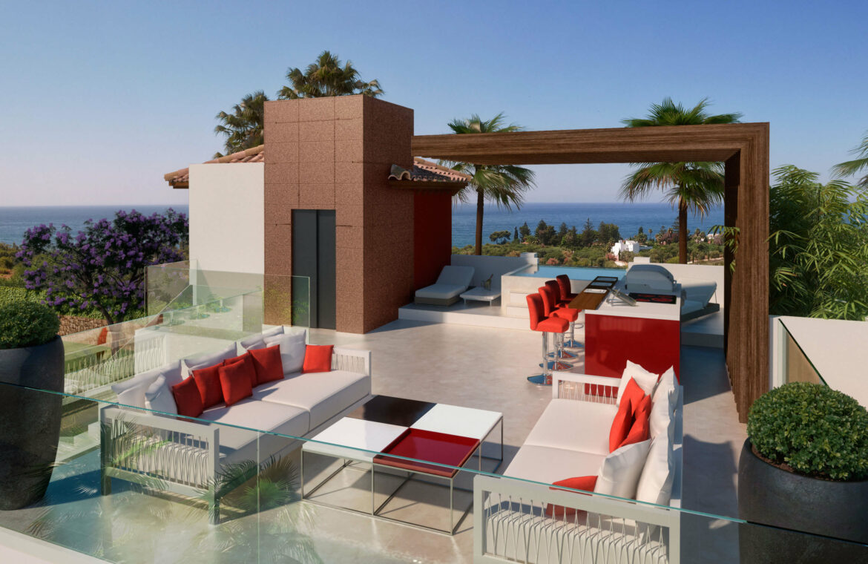 la cornisa rio real golf kleinschalig nieuwbouw villa te koop costa del sol marbella passivhaus solarium 74