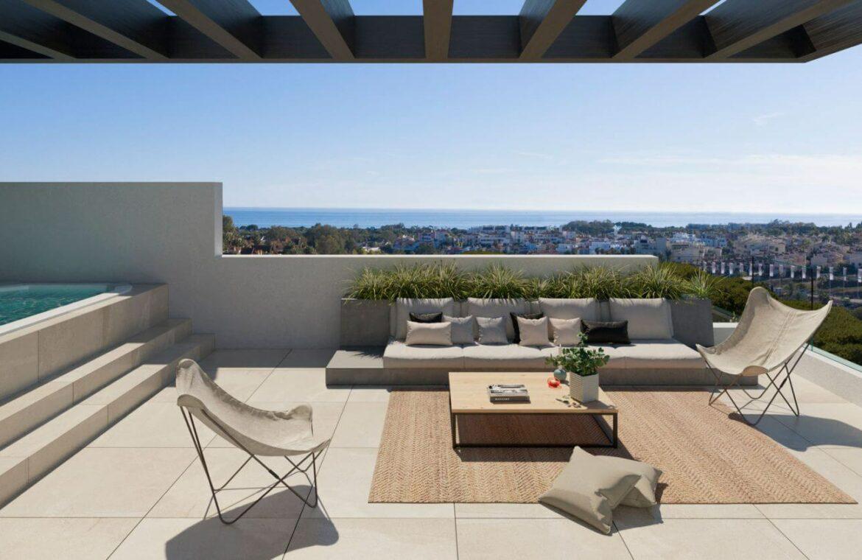 serene atalaya golf estepona costa del sol huis kopen nieuwbouw zeezicht wandelafstand dakterras
