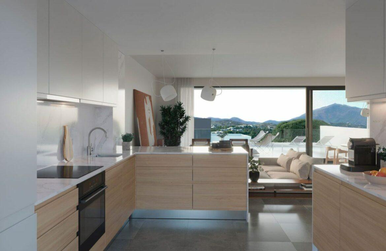 serene atalaya golf estepona costa del sol huis kopen nieuwbouw zeezicht wandelafstand keuken