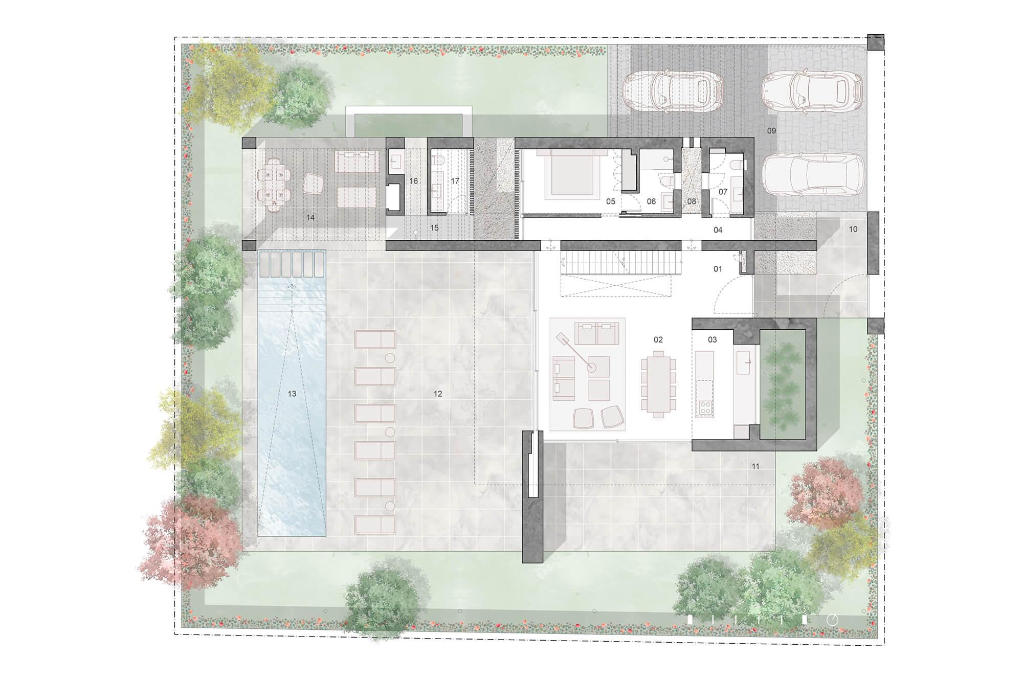 cortijo blanco beach villa vamoz te koop marbella costa del sol spanje nieuwbouw grondplan 1 gelijkvloers