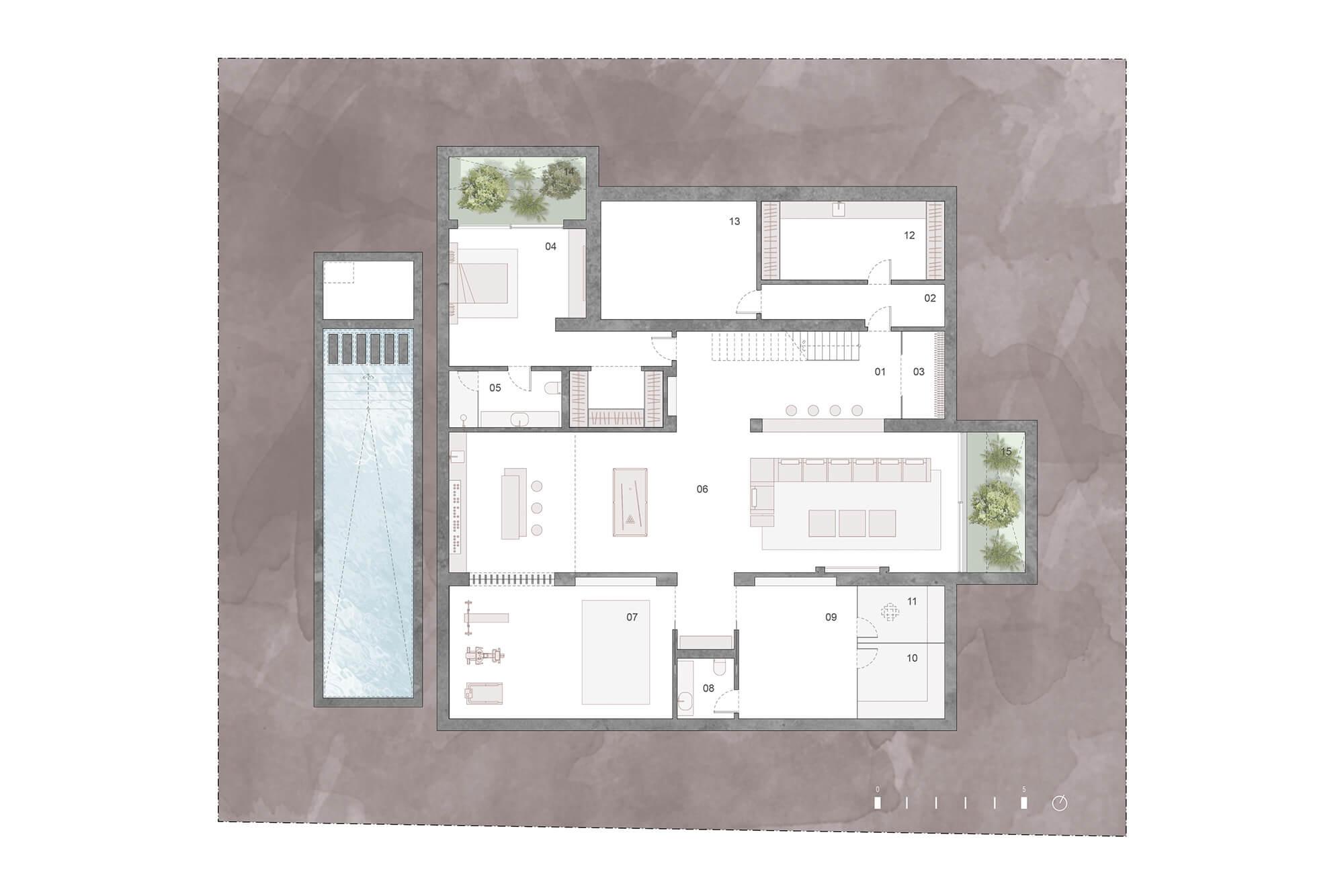 cortijo blanco beach villa vamoz te koop marbella costa del sol spanje nieuwbouw grondplan 1 kelder