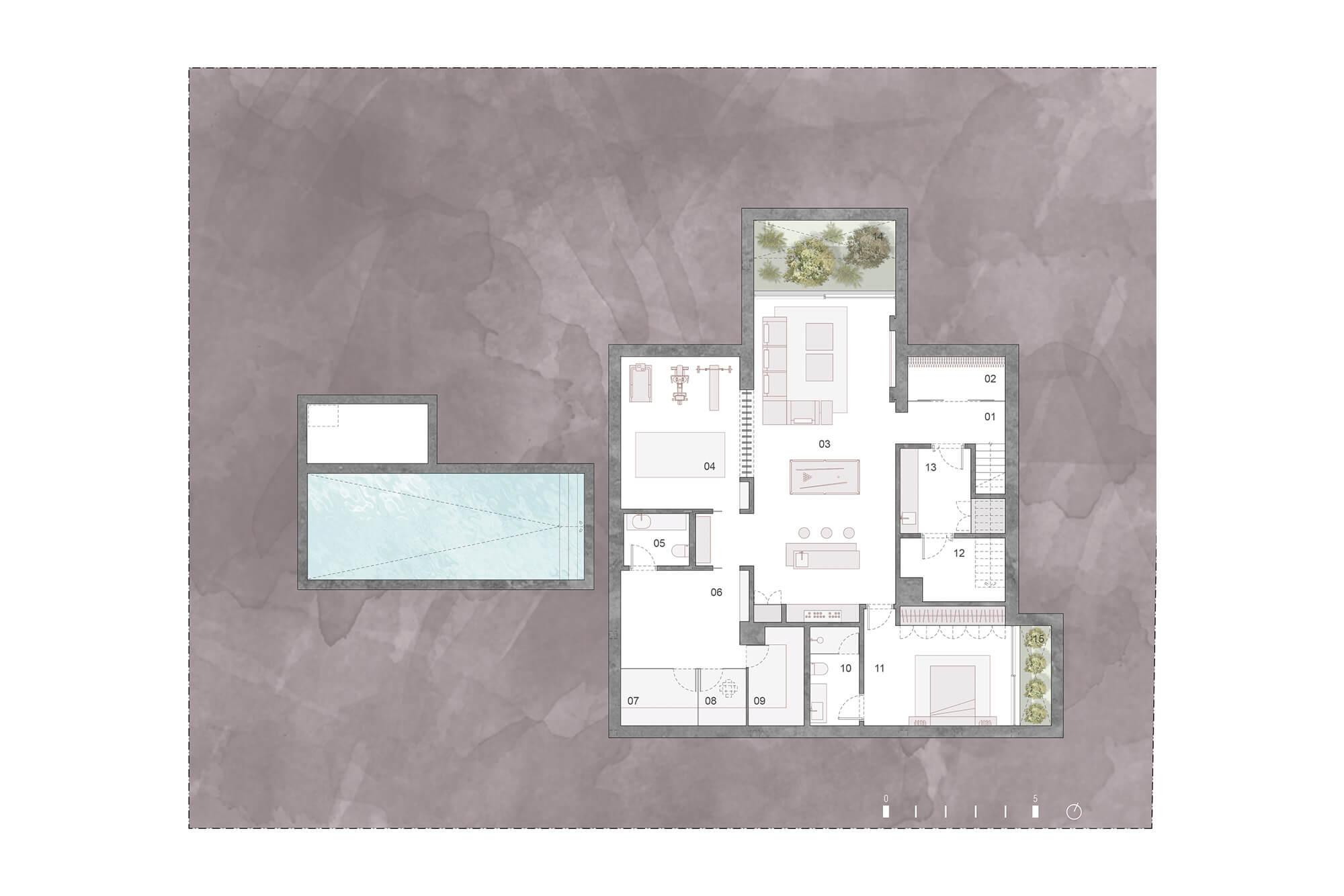cortijo blanco beach villa vamoz te koop marbella costa del sol spanje nieuwbouw grondplan 4 kelder