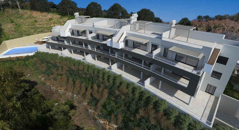 the crest nieuwbouw appartement te koop la quinta nueva andalucia golfvallei benahavis marbella costa del sol spanje zeezicht facade