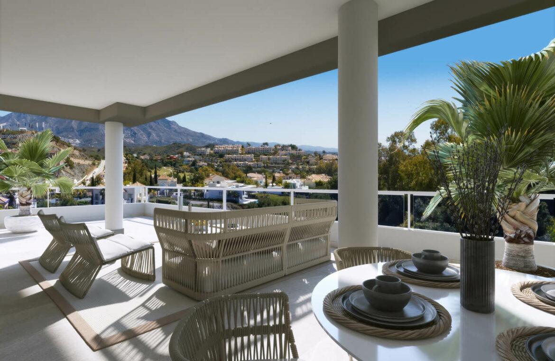 the crest nieuwbouw appartement te koop la quinta nueva andalucia golfvallei benahavis marbella costa del sol spanje zeezicht gelijkvloers