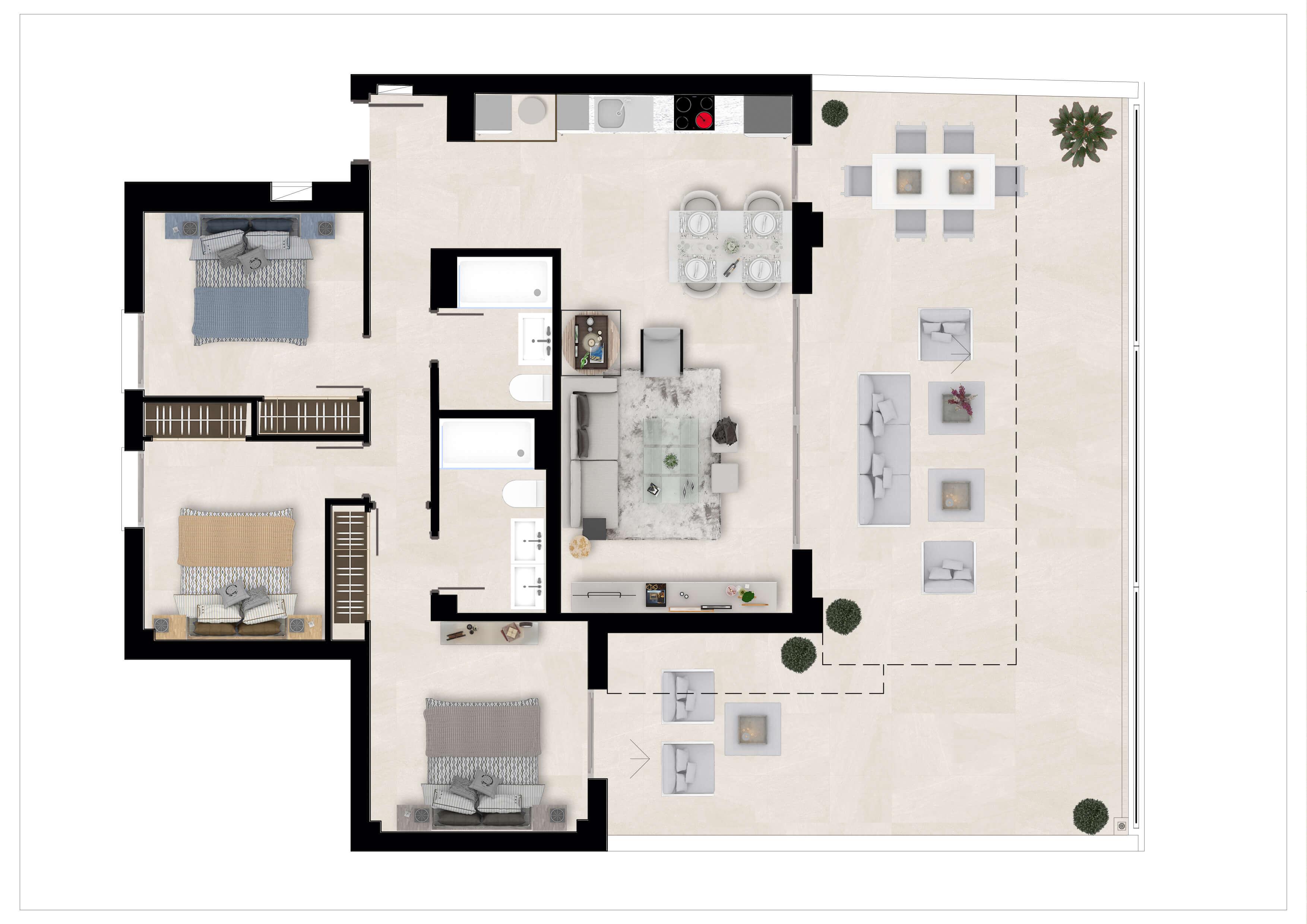 the crest nieuwbouw appartement te koop la quinta nueva andalucia golfvallei benahavis marbella costa del sol spanje zeezicht grondplan gelijkvloers hoek