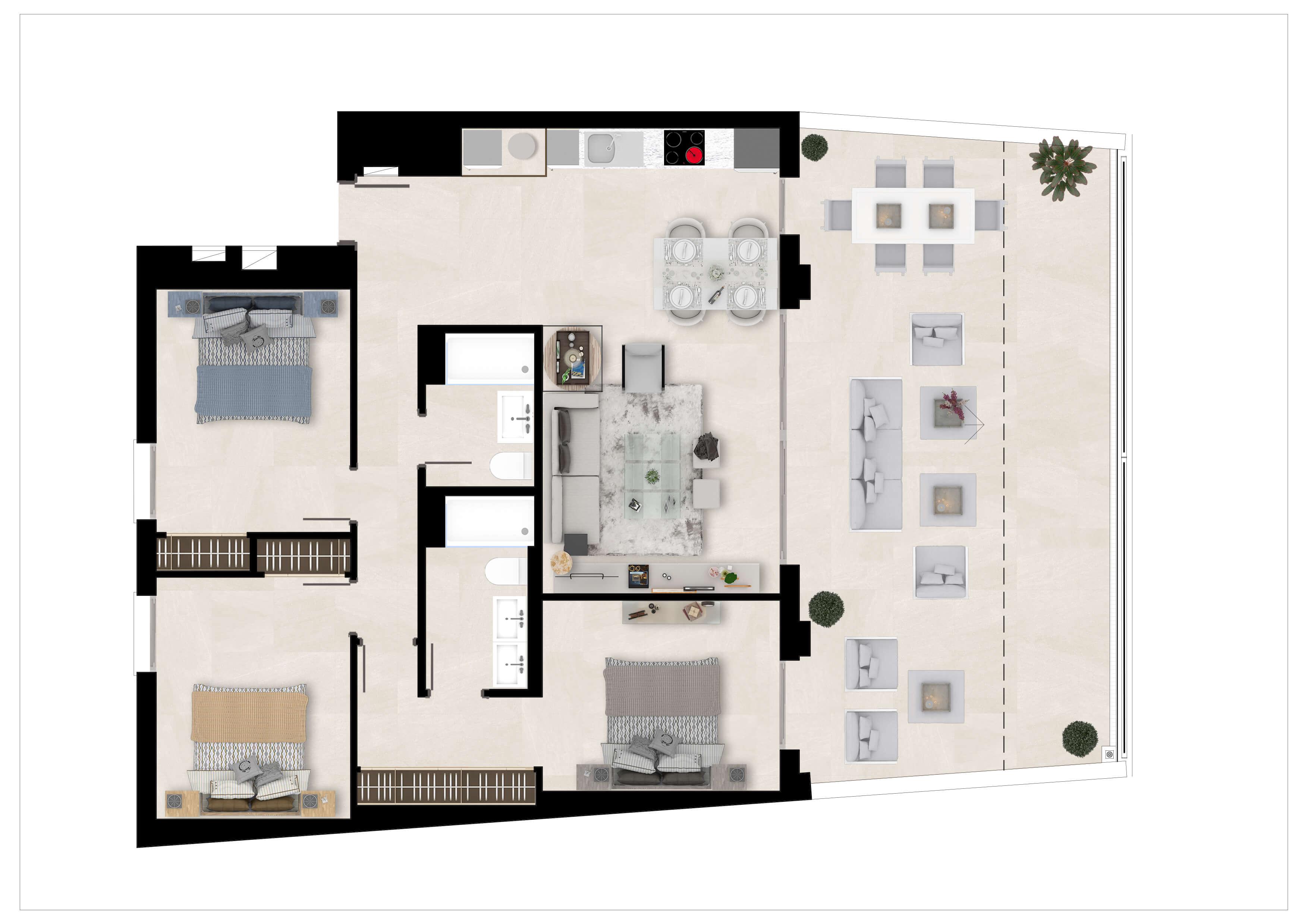the crest nieuwbouw appartement te koop la quinta nueva andalucia golfvallei benahavis marbella costa del sol spanje zeezicht grondplan gelijkvloers