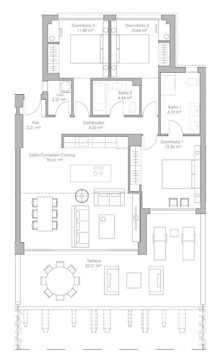 oasis325 fase2 nieuwbouw appartement te koop selwo new golden mile vamoz marbella estepona costa del sol spanje grondplan 3slaapkamers