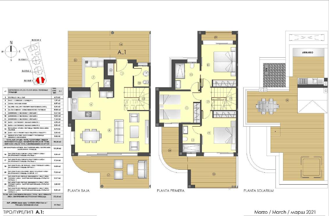 los miradores del sol cancelada estepona spanje vamoz marbella townhouse huis te koop wandelafstand zee nieuwbouw grondplan A1