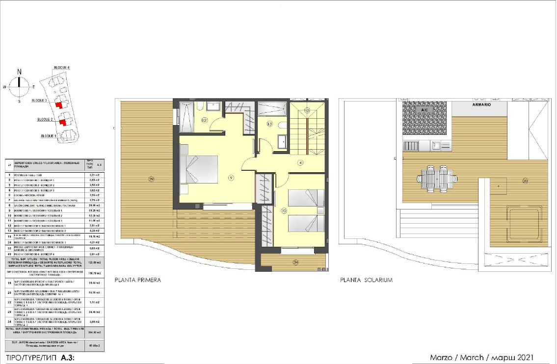 los miradores del sol cancelada estepona spanje vamoz marbella townhouse huis te koop wandelafstand zee nieuwbouw grondplan A3 solarium