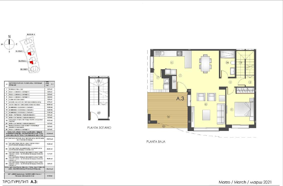 los miradores del sol cancelada estepona spanje vamoz marbella townhouse huis te koop wandelafstand zee nieuwbouw grondplan A3