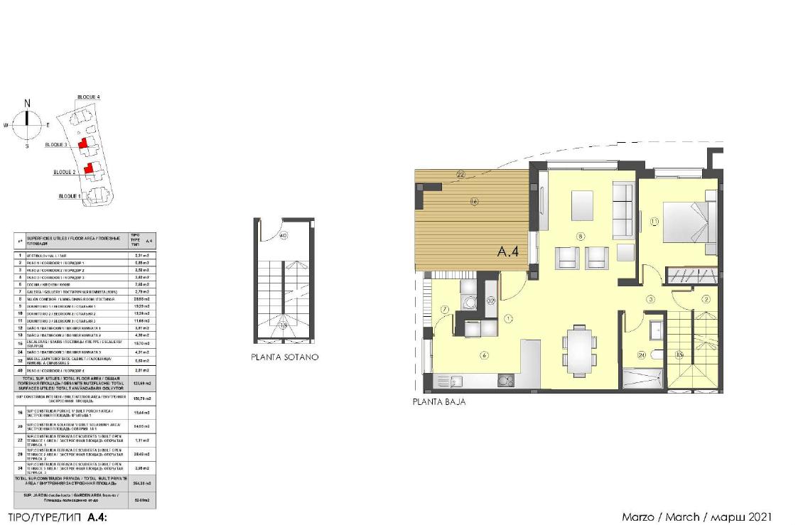 los miradores del sol cancelada estepona spanje vamoz marbella townhouse huis te koop wandelafstand zee nieuwbouw grondplan A4