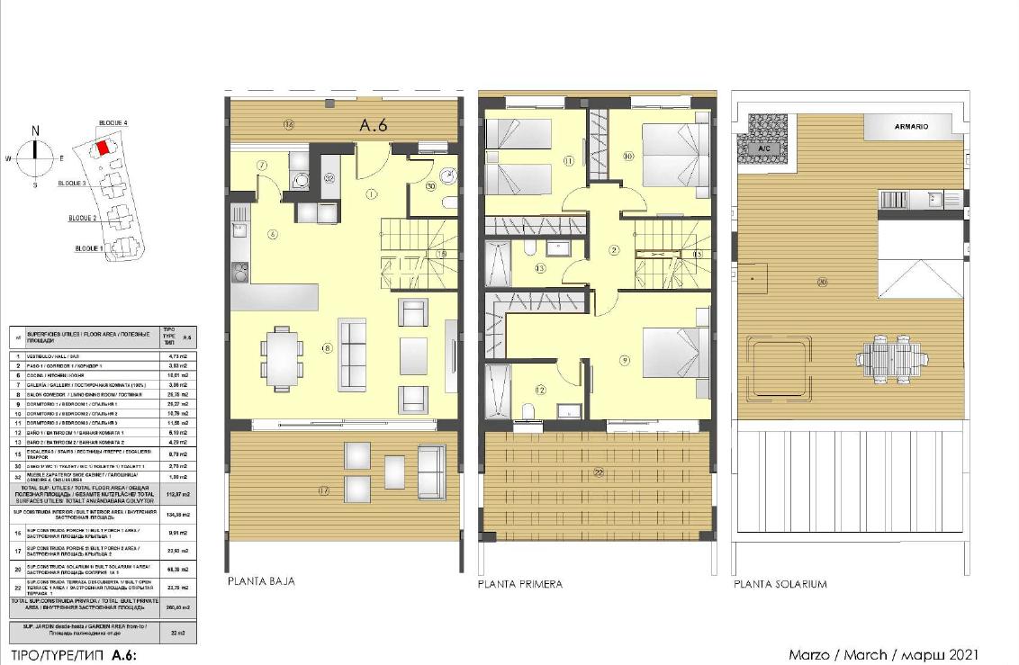 los miradores del sol cancelada estepona spanje vamoz marbella townhouse huis te koop wandelafstand zee nieuwbouw grondplan A6