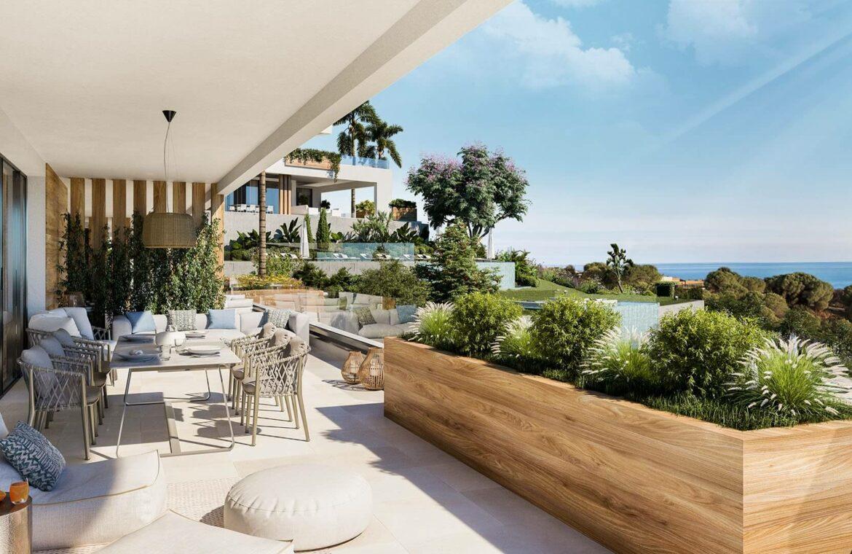 marbella sunset cabopino kleinschalig nieuwbouw appartementen te koop vamoz marbella costa del sol terras
